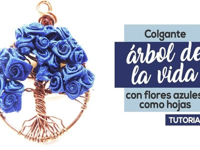 Como Hacer Colgante Árbol De La Vida Con Flores Azules Como Hojas
