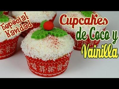 Cupcakes de coco y vainilla para navidad