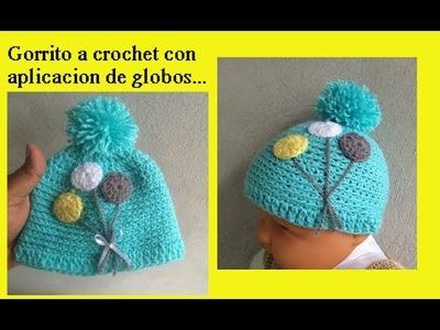 Gorrito a crochet con aplicación de globos ????????
