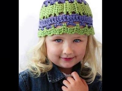 Gorro tejido en crochet para niños niñas