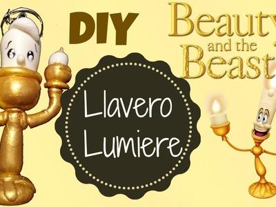 Llavero Lumiere de la bella y la bestia hecha de Pasta Flexible