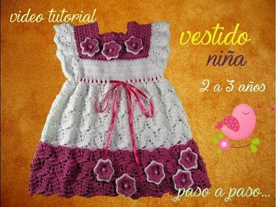 Como tejer un HERMOSO Y FEMENINO VESTIDO NIÑA crochet - How to crochet BEAUTIFUL FEMININE GIRL DRESS