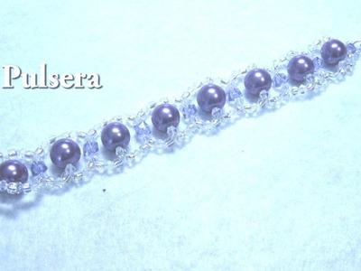 # DIY - Pulsera de perlas moradas# DIY - Purple pearl bracelet -