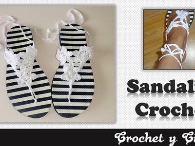 Sandalias tejidas a crochet para mujer ????