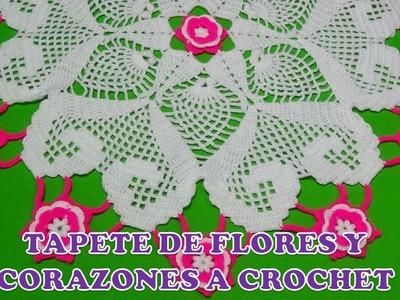 TAPETE O CARPETA A CROCHET DE FLORES Y CORAZONES PARTE 2 paso a paso en video tutorial