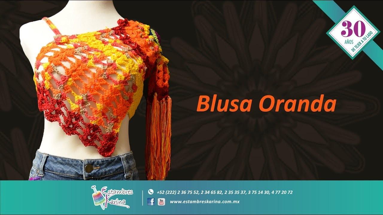 Cómo tejer una blusa para verano con gancho - Blusa Oranda estambre Río - Estambres Karina