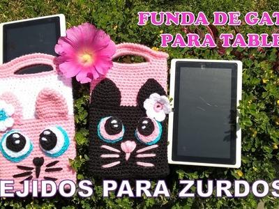 PARA ZURDOS Funda de Gatita para tablet tejida a crochet paso a paso FÁCIL Y RÁPIDO
