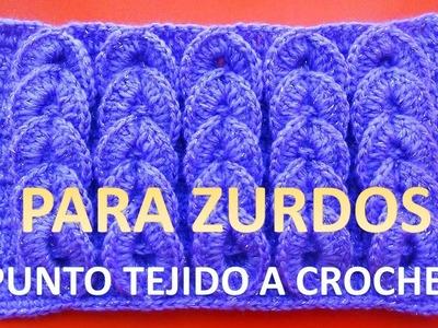 Para Zurdos: Punto a crochet trenzas en relieves paso a paso en tutorial para bufandas