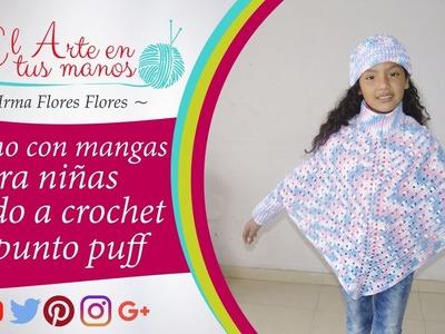 Poncho con mangas y tejido a crochet con el punto puff calado  fácil de tejer paso a paso