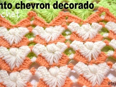 Punto chevron decorado con abanicos, puffs y piquitos tejido a crochet - Tejiendo Perú