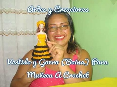 VESTIDO Y GORRO (BOINA) PARA MUÑECA A CROCHET