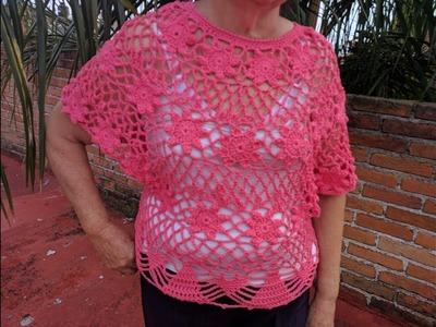 Blusa de flores para verano tejida en crochet