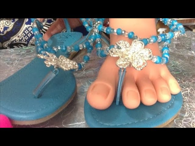 Como hacer sandalias decoradas con cristal. Fácil y rápido