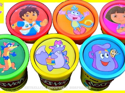 Dora la Exploradora  Plastilina Play doh  juguetes Sorpresas en Español Aprende los colores