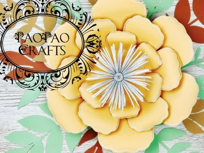 FLOR GIGANTE DE PAPEL | FLORES DE PAPEL | MOLDES GRATIS | HOW TO MAKE PAPER FLOWER
