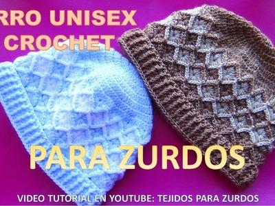 Para ZURDOS: Gorro UNISEX a crochet Rombos en Relieves para niños, y adultos paso a paso