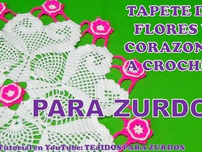 Para Zurdos: TAPETE O CARPETA A CROCHET DE FLORES Y CORAZONES PARTE 1 paso a paso en video tutorial