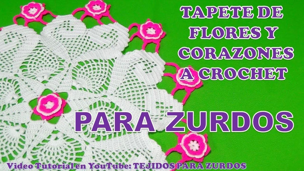 PARA ZURDOS: TAPETE O CARPETA A CROCHET DE FLORES Y CORAZONES PARTE 2 paso a paso en video tutorial
