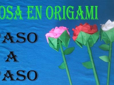 ROSA EN ORIGAMI. PASO A PASO