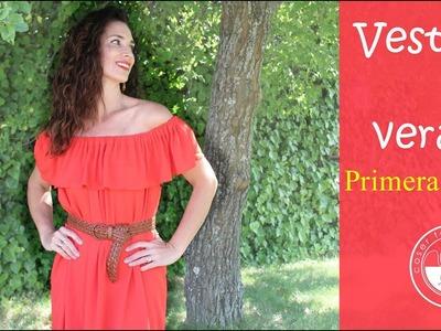 Vestido maxi con hombros descubiertos inspirado en blusa campesina: primera parte