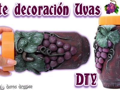 Bote decorativo con diseño de uvas  rustico DIY