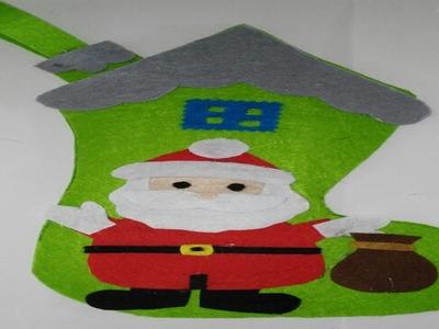 Como hacer botas de navidad de  papa noel adornos navideños manualidades tutorial DIY