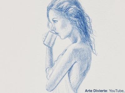 Cómo hacer un boceto de una chica tomando café - Narrado