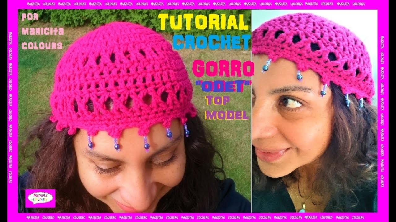 "Cómo tejer Gorro TOP MODEL a Crochet ""Odet"" por Maricita Colours Ganchillo"