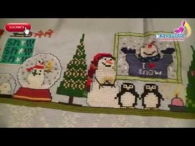 Cuadro de muñecos de nieve en Punto de cruz