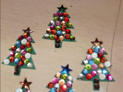 DIY Cómo hacer un mini arbolito navideño de fieltro con lentejuelas