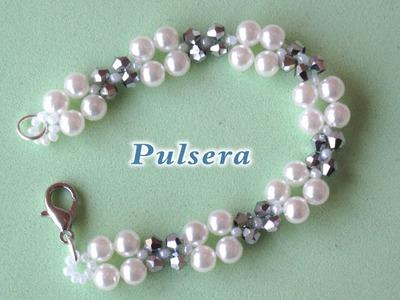 # DIY - Pulsera, gargantilla, ó collar fácil de perlas y tupis. DIY  Easy bracelet