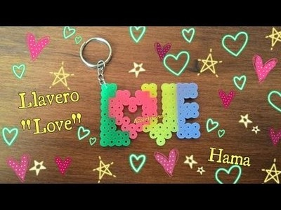 Llavero LOVE  de hama. perler love  keychain