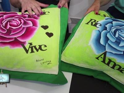 Pintura en tela!!!  Caro nos enseña una lindisima rosa en un almohadon!!
