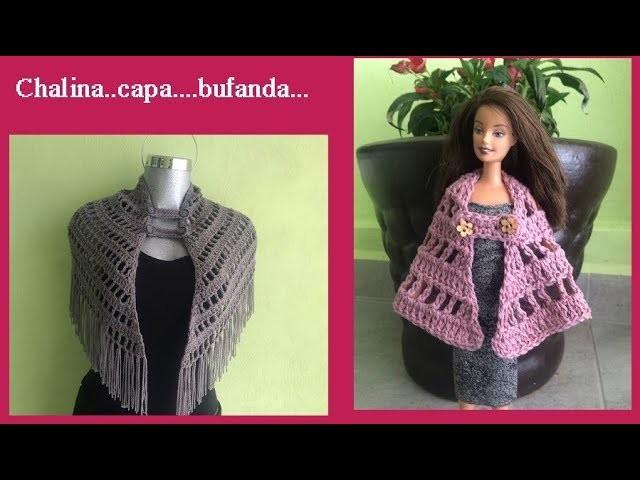 Capita,chalina o bufanda puntada fácil a crochet