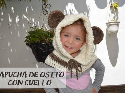 Capucha Oso con Cuello a crochet. 2 a 5 Años. Parte 1.