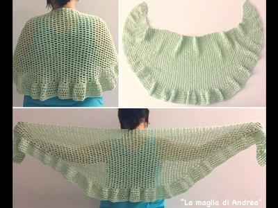 Chal a crochet. (parte 1 y 2 juntas)