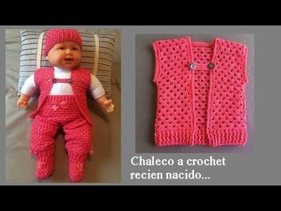 Chaleco a crochet para recién nacido ( todas las tallas)