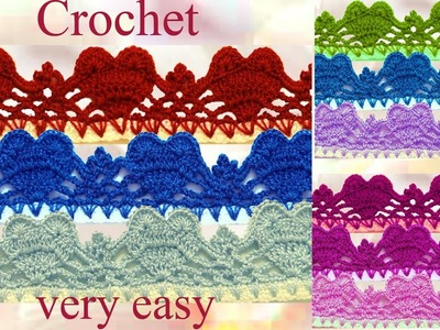 Como tejer fácil con Ganchillo Crochet orilla puntilla en punto de corazones