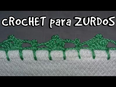 CROCHET PARA ZURDOS. ORILLA DE SERVILLETA TEJIDA #9
