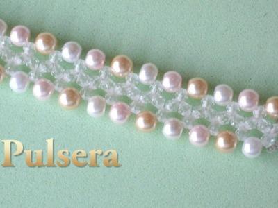 # DIY -Pulsera niña, fácil, perlas y tupis cristal# DIY-girl bracelet, pearls and crystal tupis