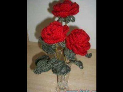 Flores tejidas en crochet