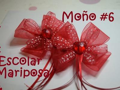 Moño #6 - Escolar Mariposa -Tutorial- DIY- Hair Bow #6