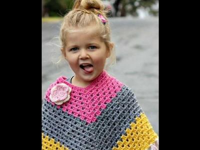 Ponchos para niña tejida en crochet