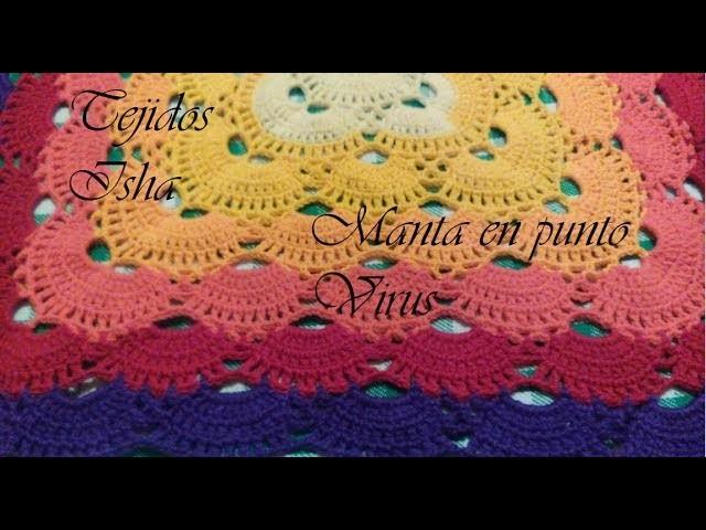 28.- Manta en Punto Virus 1 o mas colores a Crochet (Virus Blanket)