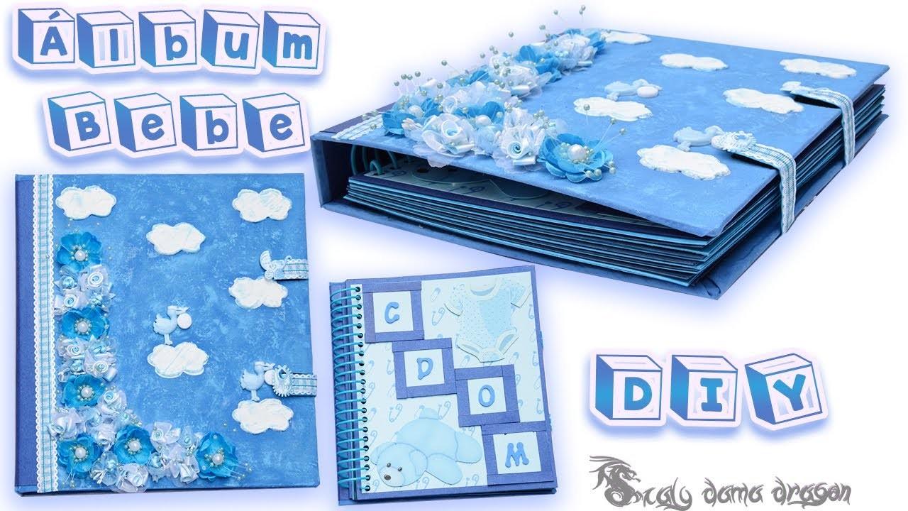 Álbum Bebe  Scrapbook, Doble encuadernación (Tela y cartulina)