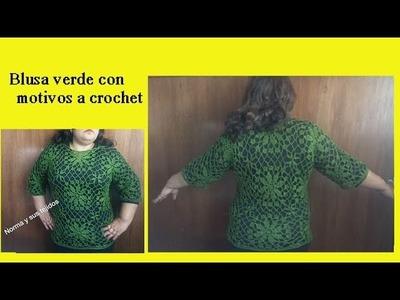 Blusa verde con motivos a crochet (parte final)