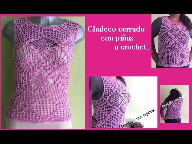 Chaleco cerrado con piñas a crochet (parte final)