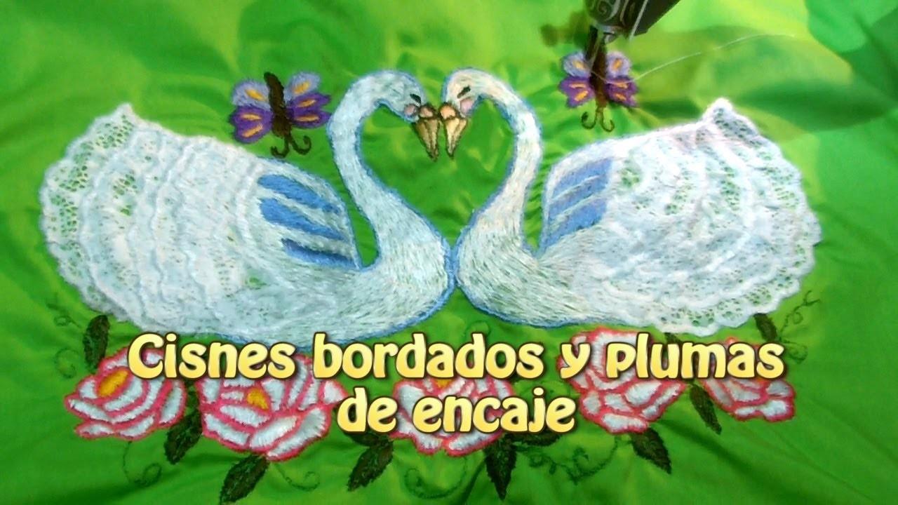 Cisnes bordados y plumas de encaje para almohadon |Creaciones y manualidades angeles