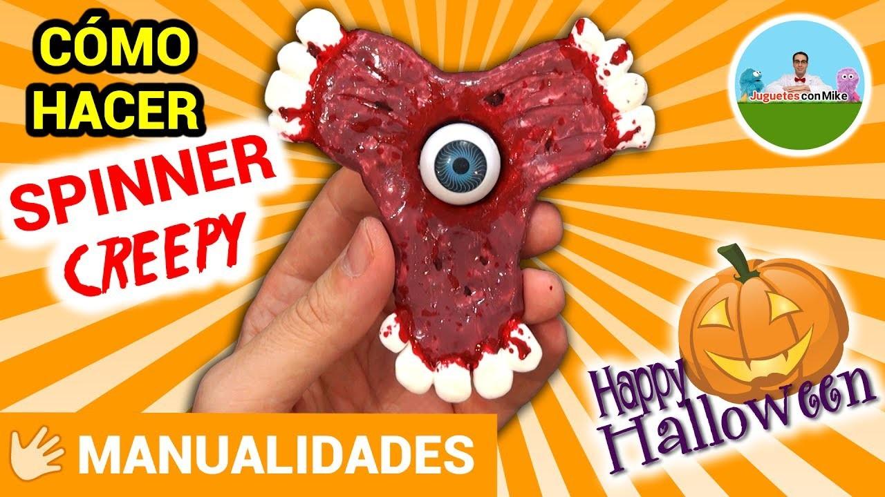 COMO HACER SPINNER CREEPY CON DIENTES Especial Halloween - DIY   Juguetes con Mike