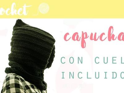 Como hacer una capucha con cuello a crochet
